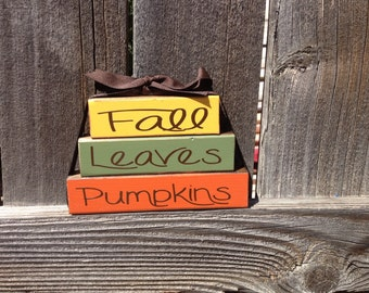 Fall wood stacker blocks-Fall Leaves Pumpkins home decor