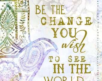 Be the Change Art Print - Hamsa, Hand of God, Gandhi, Yoga