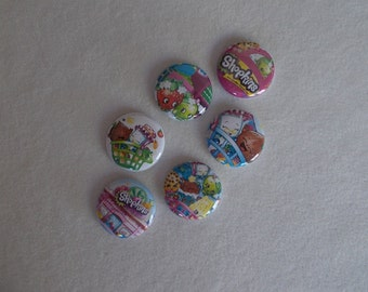 Shopkins …6- Flat Back Buttons, 6-1 inch pins, 6-magnets, 6-shoelace backs…6 for 3.00