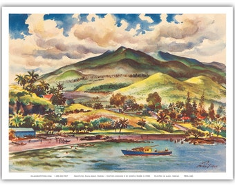 9in x 12in Vintage Airline Travel Poster Art Print - Beautiful Hana Maui Hawaii - PRTA1462