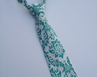 Boys Neck Tie, Infant Tie, Toddler Tie,  Damask Neck Tie, Turquoise Damask Neck Tie