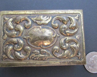 Got a light? antique brass REPOUSSEE MATCHBOX HOLDER Art Nouveau 4B