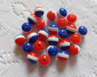 26  Red White & Blue Striped Round Acrylic Beads 8mm