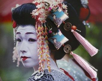"Bohemian ethnic Japanese vintage - textile - spirit Pompom Japanese - zen ""portrait of geisha"" earrings FUJIGIRLS"