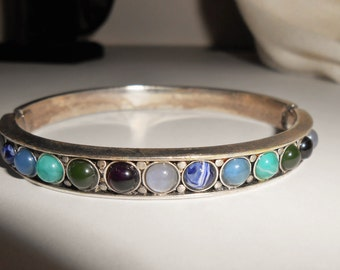 Vintage Silver Gemstone Bezel Studded Cuff Bangle Bracelet