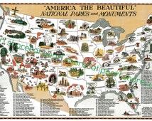 Vintage National Parks Map - Digital Download