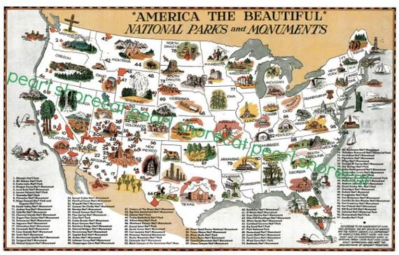 Vintage National Parks Map Digital Download