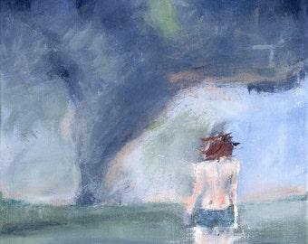 Landscaping Painting Art print, Landscape Giclee Art print, Tornado, Figurative Art, The Haunted