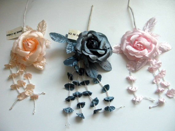 Satin Flowers DIY Hair Accessories Supplies Wholesale Shabby Chic