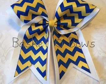 Large Royal Blue and Yellow/Gold Glitter CHEVRON Bow - Huge Big Texas Style - Softball/Volleyball/Cheer/Soccer/Bowling/Gymnastics/Dance/Team