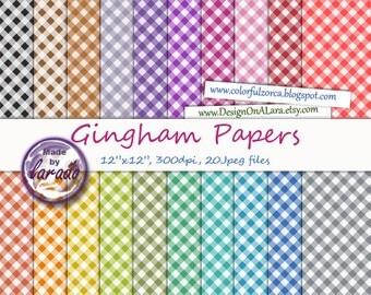 Gingham Digital Paper, Rainbow Gingham Scrapbooking Papers, Instant Download & Printable
