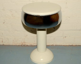 1950's Soda Fountain Ice Cream Parlor White Chrome Swivel Counter Stool
