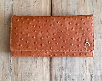 Slim woman wallet, trifold leather wallet, Brown Ostrich Embossed, Womens Leather Wallet, Gifts for her, under 80