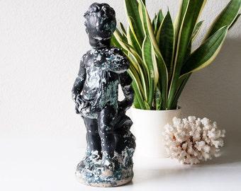 Vintage concrete putti baby cherub garden statue cement lawn statuary