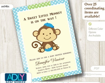 Personalized Boy Monkeys Baby Shower Printable DIY party invitation - ONLY digital file - ao04bs