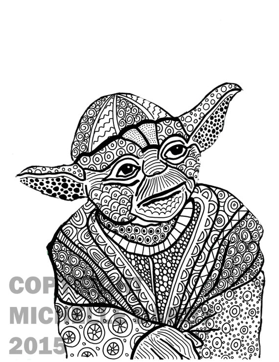 zen yoda colouring page. Black Bedroom Furniture Sets. Home Design Ideas