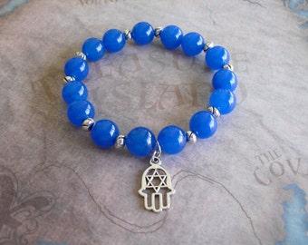 Hamsa Hand and Blue Jade bracelet