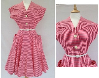1950s Red And White Candy Stripe Dress, Tea Party , Summer. UK size 10-12, US size 8-10.