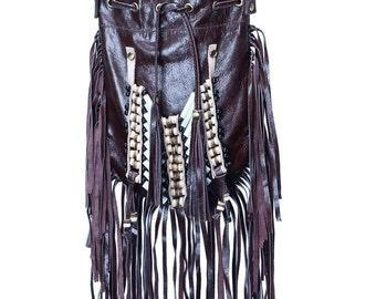 N46P- Dark Brown  Indian leather Handbag, Native American Style  bag. Crossbody bag