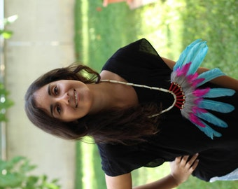 Indian Turquoise and pink Feather Necklace