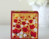 Red Small Jewellery Box, Poppy Wooden Box, Floral Storage Box, Red Decorative Box, Square Hand Painted Jewellery Box, Artwork Wooden Box