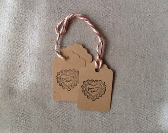 Primitive Hang Tag Made from the Heart Rustic Gift tag Kraft Cardstock scalloped top pre strung Craft Supply branding makers tag set 25 tags