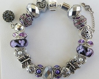 European Style Charm Bracelet - Purple and Steel Grey Lampwork Glass And Crystal Beads,  Silver Beads, DELUXE-PANDORA Options Available