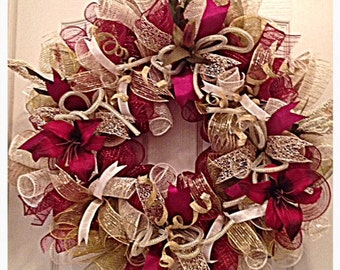 Elegant Lily Deco Mesh Wreath/Burgundy Wreath/Burlap Wreath/Mothers Day Burgundy, Cream, Moss Green and Burlap Lily Deco Mesh Wreath/Lily Wr