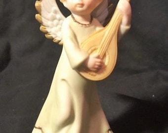 Lefton China angel playing a mandolin - 1989