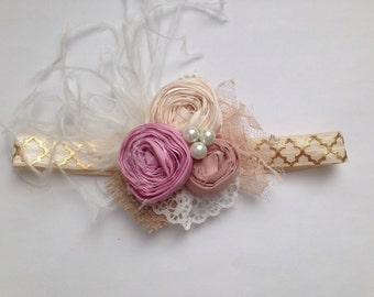 Rose pink, beige, and cream rosette headband, newborn headband, baby headband, couture headband, gold and cream bow, over the top bow.