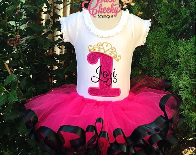 Custom First Birthday Tutu Outfit - 1st Birthday - Hot Pink and Black - Birthday Outfit - Birthday Tutu - Birthday Princess Outfit - Tutu Se