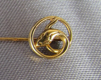Antique French 18k Gold Pin Tie, Snake Stickpin Lapel.