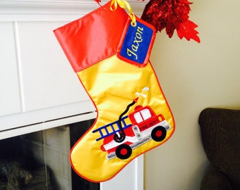 Embroidered Appliquéd Fire Truck stocking with matching name tag