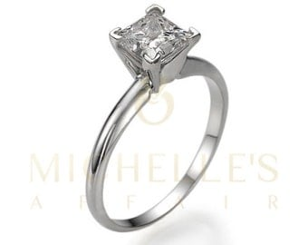 Diamond Engagement Ring Solitaire D SI2 Princess Cut Diamond 14K White Gold Ring For Women
