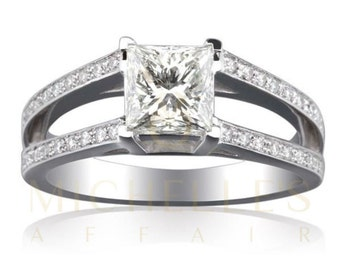 Engagement Ring With Accents 2.55 ct Princess Cut Diamond Certified F SI2 Ladies White Gold Ring 18K Setting