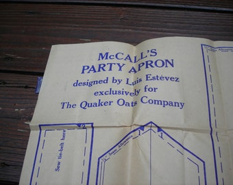 Vintage 1960s McCall's Party Apron Pattern