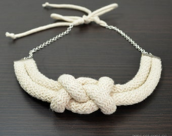 Chic rope necklace/ Eco friendly handmade necklace/ statement rope necklace.