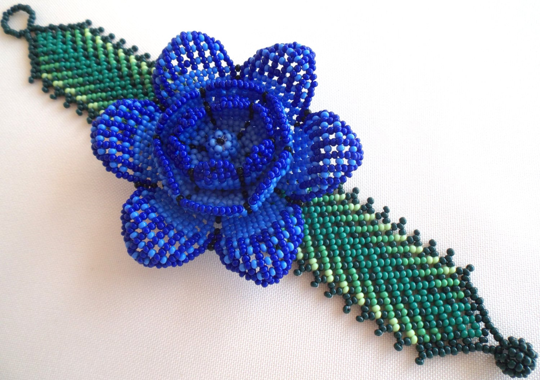 mexican huichol beaded flower bracelet by aramara on etsy