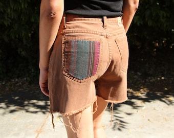 Vintage Brown Patch High Waist Shorts