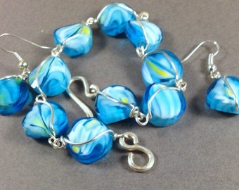 Wire Wrapped Mosaic Lampwork Beaded Bracelets with Matching Earrings in Your Choice of Blues