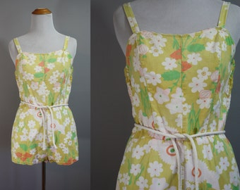 1950's Swimsuit // Novelty Print Floral // Small
