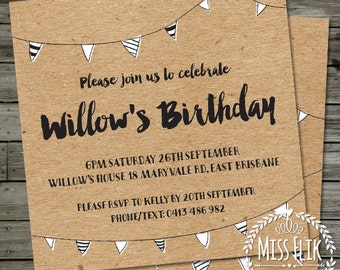 Rustic Birthday Invitation Black Brown Recycled Kraft Printable Digital Adult Child Invite Square 18th 21st 30th 40th 50th Anniversary Party