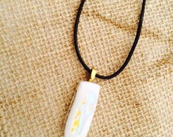 Beautiful white dichroic pendant fused glass