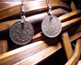 SALE  Vintage Coin Earrings, 5 Cents, Bahamas