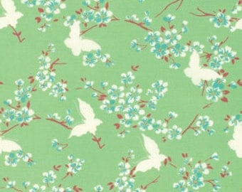 Sale Tanya Whelan 1 yd Fabric CHLOE -  Butterfly GREEN Free Spirit Shabby Chic - Cottage Chic Floral - Fabric by the Yard - 1 yard