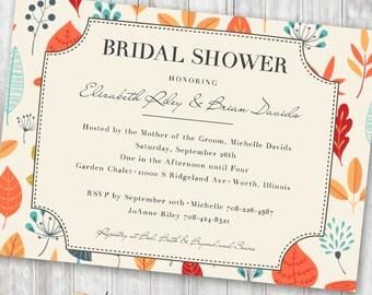 Printable Bridal Wedding Shower Invitation - Vintage Fall Leaves Theme