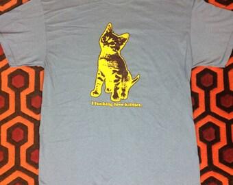 I *&#@-ing Love Kitties T-Shirt (on BLUE)