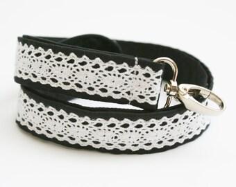 Classy Black and White Lace Fabric Lanyard - 1 Inch Wide Cute Key Lanyard - ID Badge Holder - Key Strap - Teacher Lanyard - Lace Lanyard