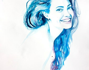 Original Watercolor Painting - Young and Beautiful . Portrait of young lady.