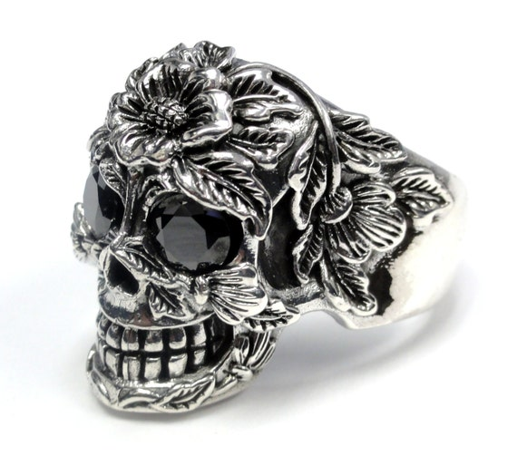 s floral silver skull ring with black diamonds